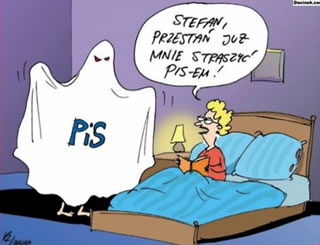 """Stefan! Will ya stop frightening me with this PiS already?"" - A Polish political cartoon."