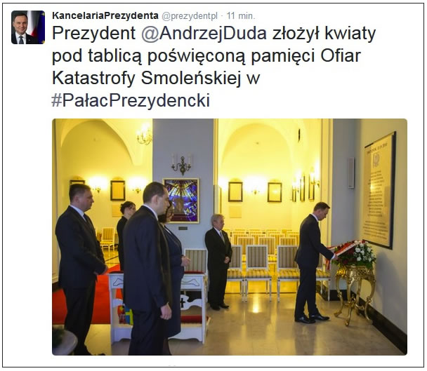 President of Poland laid flowers under the plaque commemorating Smolensk crash victims.